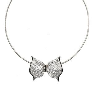 Silver Pave Bow Choker~ Necklace
